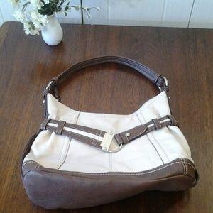 Tignanello Cream & Brown  Leather Purse